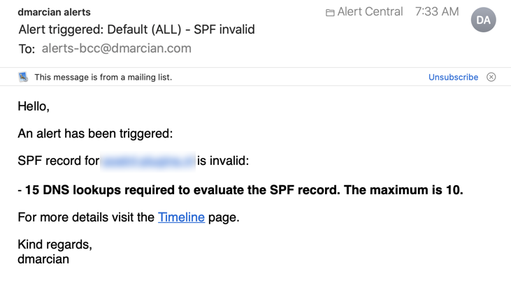 Example of Alert Central Email