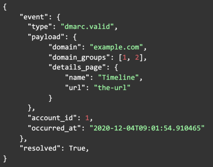 Webhook specific record became valid (RESOLVING) example