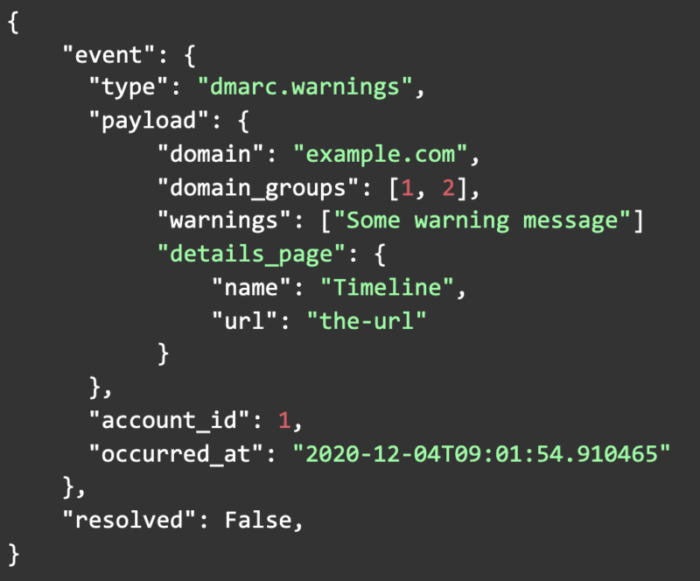 Webhook specific record has warnings example