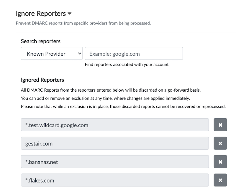 Screenshot of Ignore reporters user interface